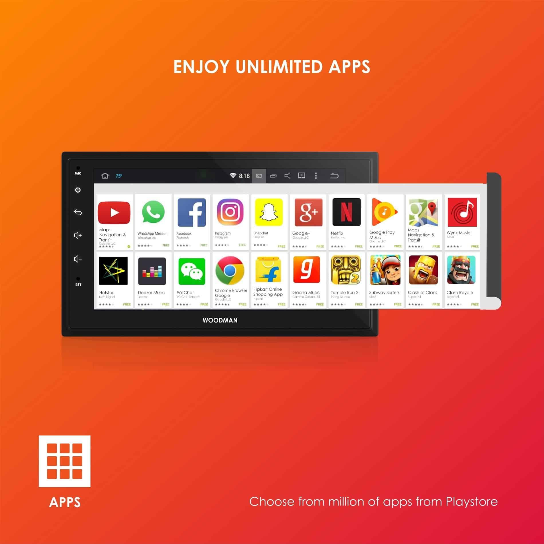 "Woodman BIG B Android Stereo for Maruti Swift Dzire / Swift / Ertiga (2012-2017) 9"" HD IPS Display & Gorilla Glass (2GB / 16GB)"